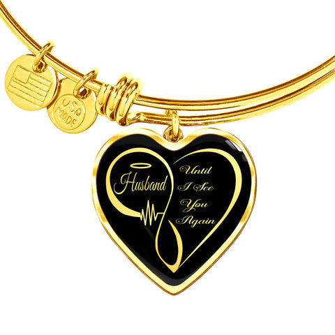 Husband Memorial Luxury Heart Bracelet Until I See You Again Loving Memory Bangle