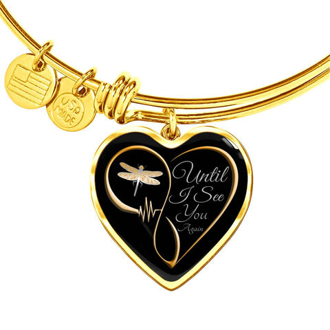 Until I See You Again Dragonfly Memorial Luxury Heart Bracelet Gift