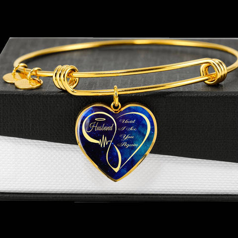 Loving Memory Husband Memorial Luxury Heart Bracelet Until I See You Again Bangle