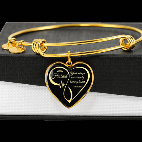 Husband Memorial Luxury Heart Bracelet Your Wings Were Ready My Heart Was Not Keepsake in Loving Memory Bangle