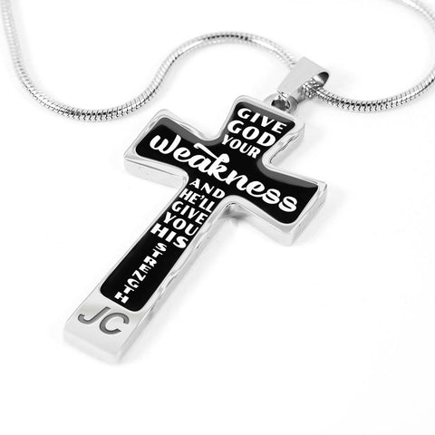 Give God Your Weakness Faith Cross Pendant Gift For Women