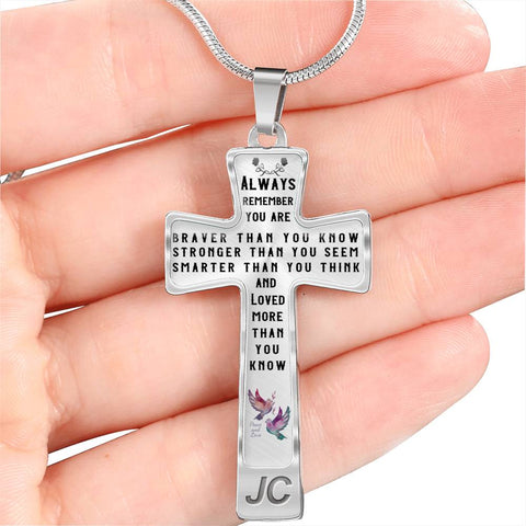 Faith Gift Christian Cross Pendant Always Remember You Are Braver Than You Know Stronger Than You Seem Quote Unique Novelty Birthday Christmas Graduation Gift Necklace for Women