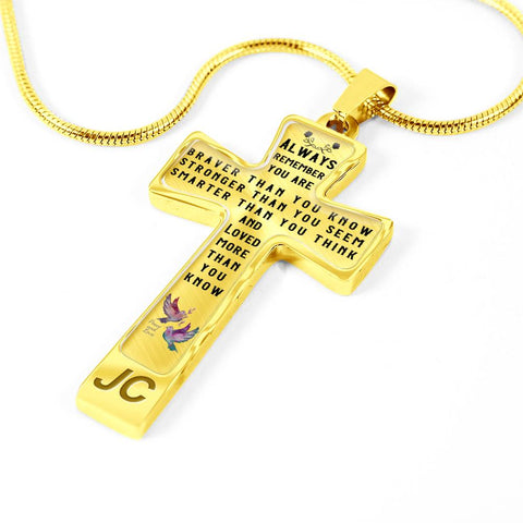 Image of Faith Gift Christian Cross Pendant Always Remember You Are Braver Than You Know Stronger Than You Seem Quote Unique Novelty Birthday Christmas Graduation Gift Necklace for Women