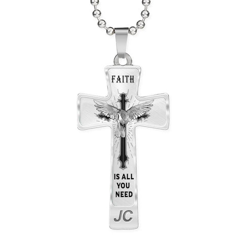 Faith is All You Need Cross Pendant for Men Dove of Peace Necklace Novelty Birthday Christmas Gifts