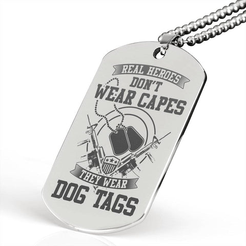 USA Veteran Luxury Dog Tag Pendant Gift Real Heroes Don't Wear Capes They Wear Dog Tags