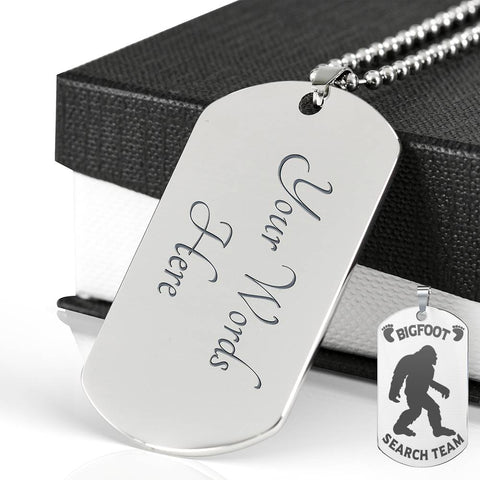 Bigfoot Search Team Dog Tag Engraved Silver Pendant Bigfoot Hunters Gift Necklace