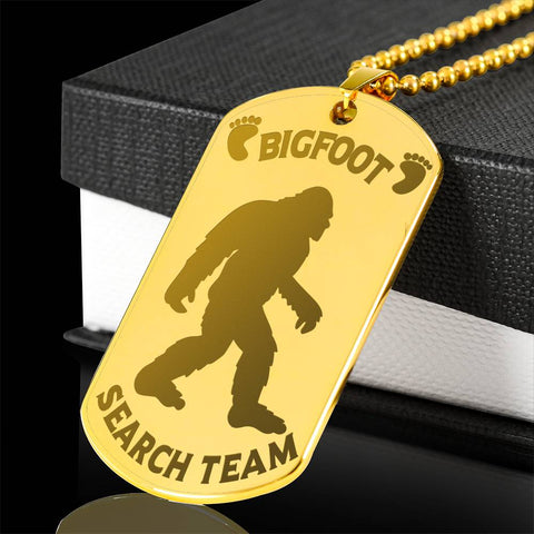 Bigfoot Search Team Dog Tag Engraved Gold Plated Pendant Bigfoot Hunters Gift Necklace