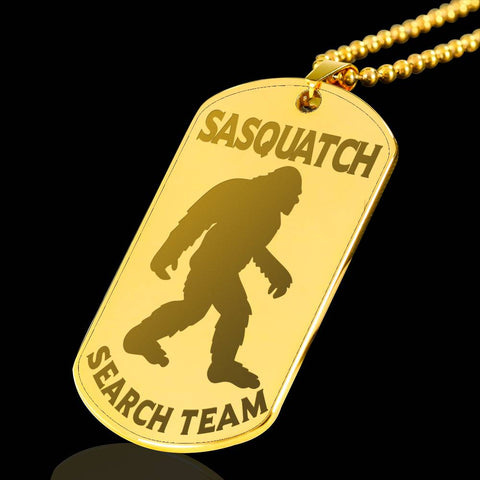 Sasquatch Search Team Dog Tag Engraved Gold Plated Pendant Bigfoot Hunters Gift Necklace