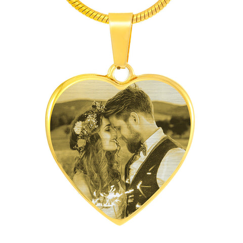 Mother's Day Unique Gift Idea! Upload a Family Picture And Have It Laser Engraved on a Heart Pendant for Mom