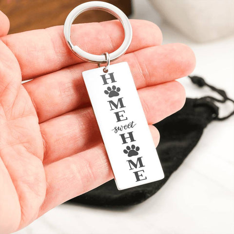 Home Sweet Home Keyring Gift Stainless Steel Laser Engraved Key Chain For Cat and Dog Lovers