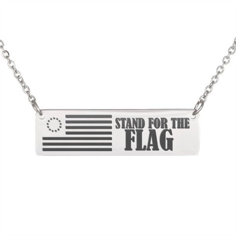 Patriotic Stand for the USA Flag Free Horizontal bar Necklace for Her