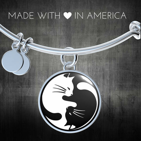 Image of Cat Yin Yang Necklace Gift for Crazy Cat lady Cat Lovers and Cat Enthusiasts Cat Pendant or Bracelet