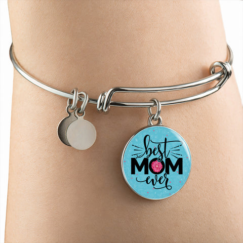 Image of Best Mom Ever Pendant or Bangle Bracelet Gift for Mother's Day Birthday Any Occasion Gift for Mom