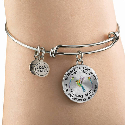 Image of Bestseller Hummingbird Memorial Bangle Bracelet Gift My Mind Still Talks You Sympathy Remembrance Keepsake