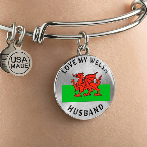 I Love My Welsh Husband Bracelet Gift for Valentine's Day Birthdays Surprise Bangle