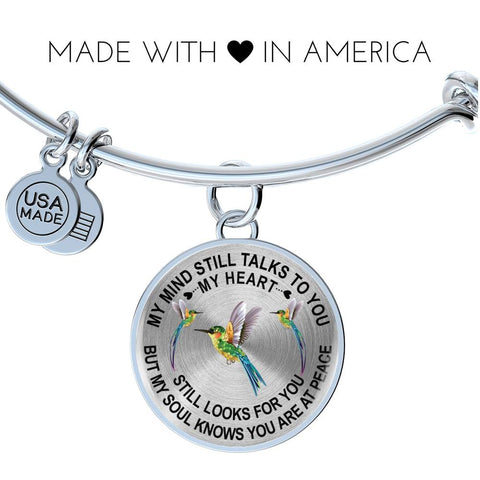 Hummingbird Memorial Bangle Bracelet Gift My Mind Still Talks You Sympathy Remembrance Keepsake