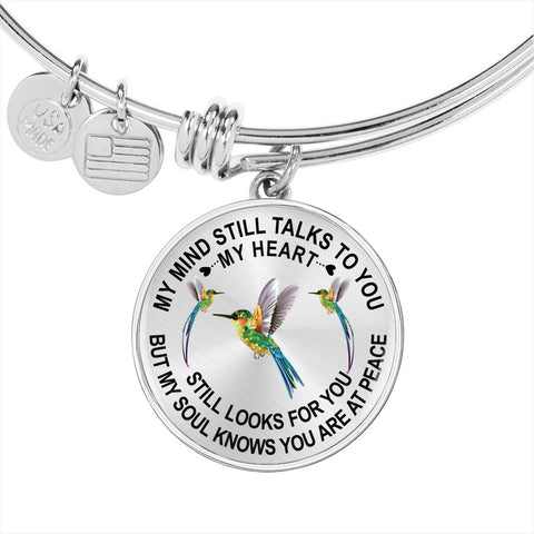Image of Hummingbird Memorial Bangle Bracelet Gift My Mind Still Talks You Sympathy Remembrance Keepsake