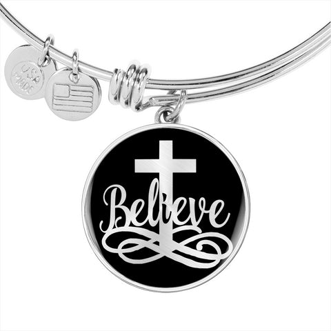 Believe Faith Christian Luxury Bracelet Gift Inspirational Support Novelty Bangle