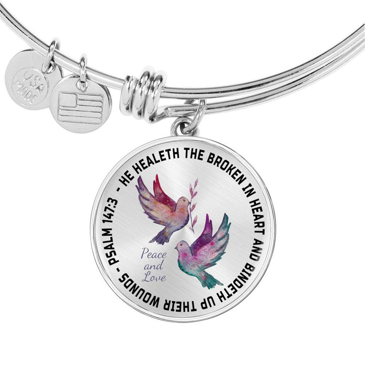 Faith Psalm 147:3 Bible Verse Dove Bangle He Heals the Brokenhearted  Christian Unique Novelty Birthday Gifts Best Scripture Verse Quote Gifts  Bracelet