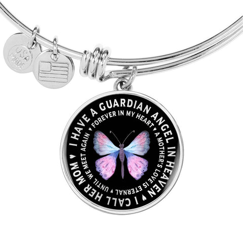 Mother In Remembrance Gift Pendant I Have a Guardian Angel in Heaven I Call Her My Mom Forever in My Heart In Memory Necklace Jewelry