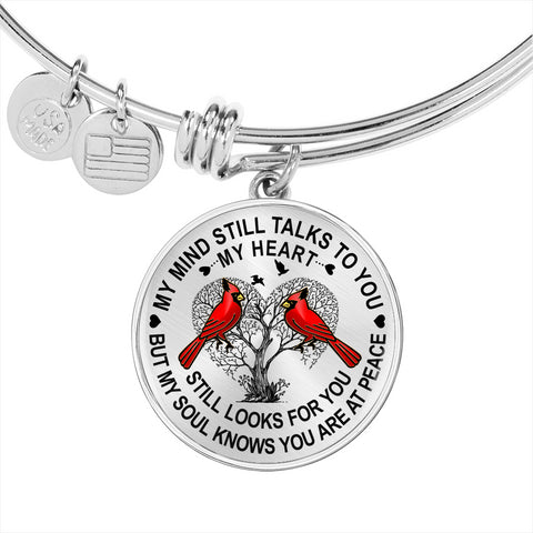 Cardinal Memory Bracelet My Mind Still Talks You Sympathy Remembrance Keepsake Bangle