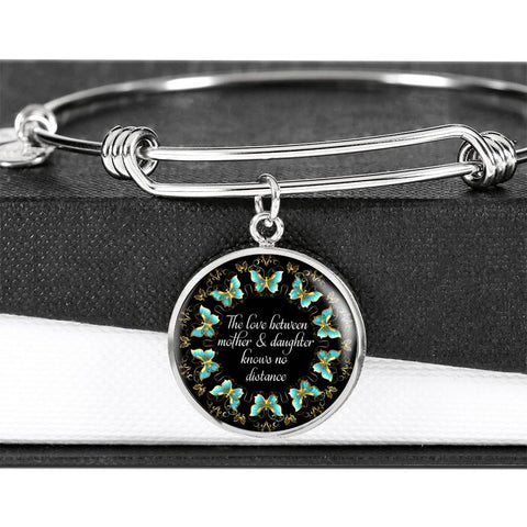 Love Between Mother & Daughter  Luxury Bracelet Gift Mandala Turquoise Butterfly Bangle