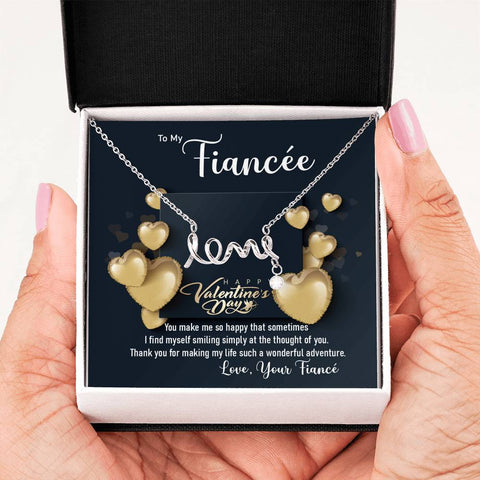 Fiancée Scripted Love Necklace Happy Valentine's Day Gift Message Card Keepsake