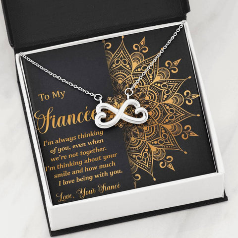 To My Fiancée Infinity Heart Necklace Gift Golden Mandala Future Wife Message Card Pendant