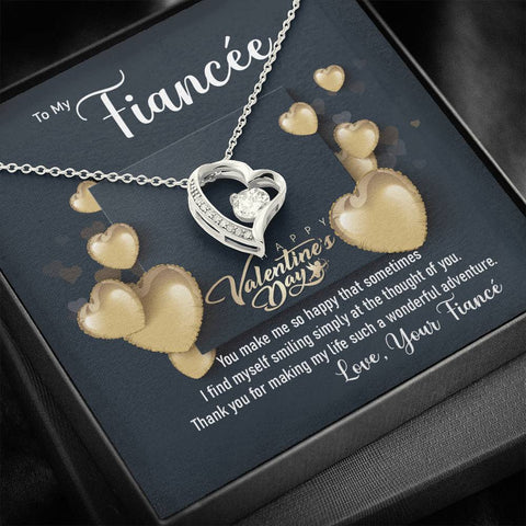 Fiancée Forever Love Necklace Happy Valentine's Day Gift Message Card Keepsake