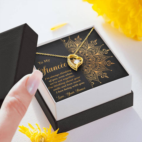 To My Fiancée Forever Love Heart Necklace Gift Golden Mandala Future Wife Message Card Pendant