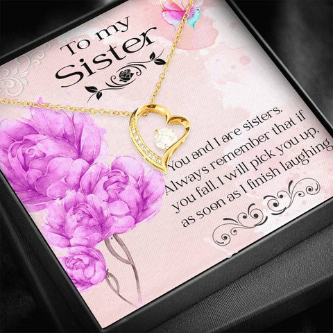 Sister Pendant Gift I will Always Pick You Up Fun Message Card Necklace