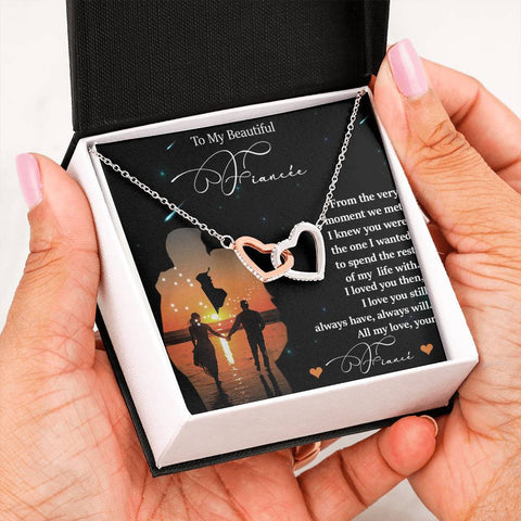 Fiancée I Loved You Then Gift Interlocked Hearts I Love You Necklace Future Wife Message Card Pendant