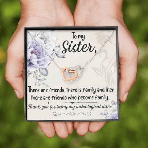 Sister Entwined Heart Pendant Gift My Best Friend Unbiological Sister Message Card Necklace