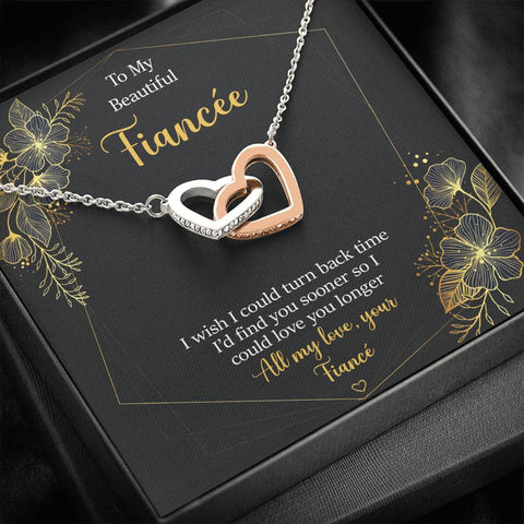 Fiancée Entwined Hearts Necklace Turn Back Time Love You Longer Gift Message Card Keepsake