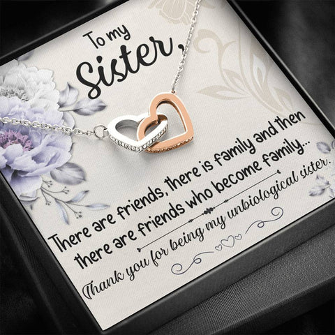 Image of Sister Entwined Heart Pendant Gift My Best Friend Unbiological Sister Message Card Necklace
