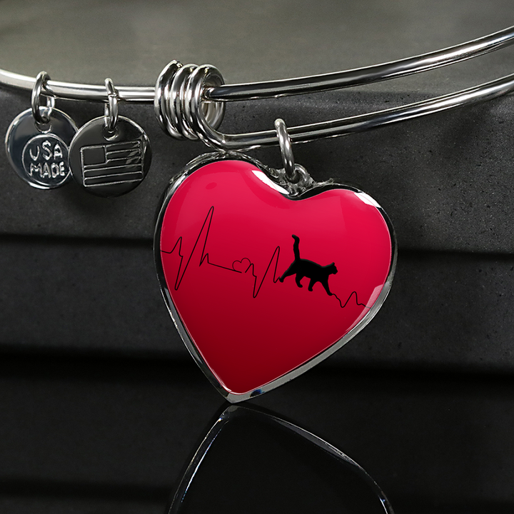 Love Cats Heartbeat Pendant and Bracelet, Gift for Cat Lovers