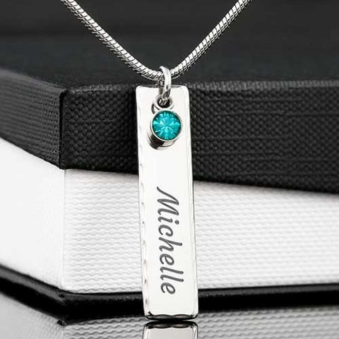 Reiki Prayer Birthstone Pendant Jewelry Gift Engrave Name or Word Necklace