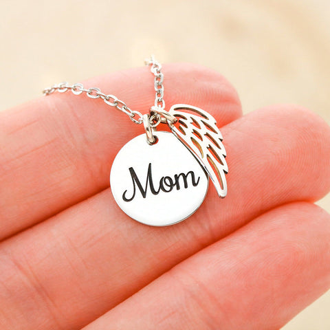 Angel Wings Mom Pendant Gift Mother At Peace Sympathy Emotional Support Necklace
