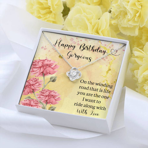 Happy Birthday Gorgeous Love Knot Pendant Gift On Winding Road of Life I Want to Ride With You Beautiful Message Card KeepsakeHappy Birthday Gorgeous Love Knot Pendant Gift On Winding Road of Life I Want to Ride With You Beautiful Message Card Keepsake