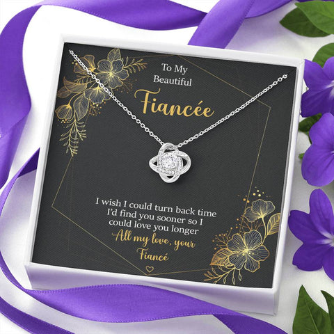 Fiancée Love Knot Necklace Turn Back Time Love You Longer Gift Message Card Keepsake