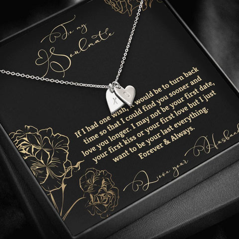 To My Soulmate Heart Necklace Gift Love Husband Message Card Jewelry