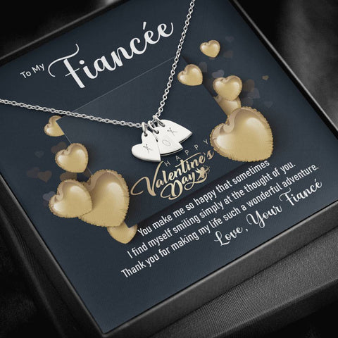 Fiancée Sweetheart Love Necklace Happy Valentine's Day Gift Message Card Keepsake