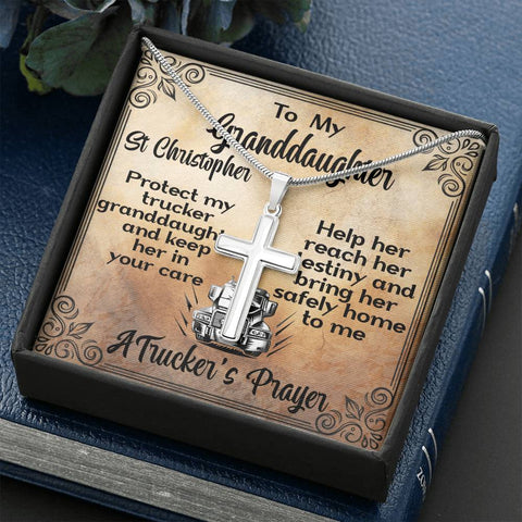 Granddaughter A Trucker's Prayer Artisan Cross Gift Necklace St Christopher Patron Saint of Travelers