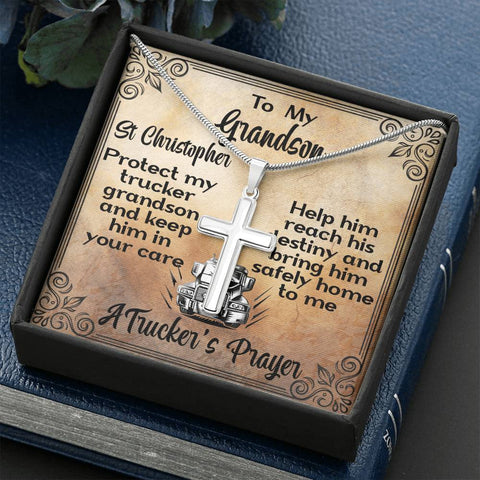 Image of Grandson A Trucker's Prayer Artisan Cross Gift Necklace St Christopher Patron Saint of Travelers