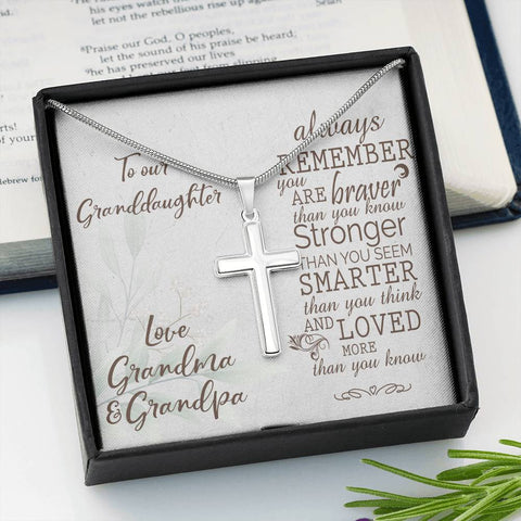 Granddaughter Artisan Crafted Cross Pendant Love Grandma & Grandpa Always Remember You Are Stronger Than You Know Necklace