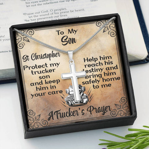 Son A Trucker's Prayer Artisan Cross Gift Necklace St Christopher Patron Saint of Travelers