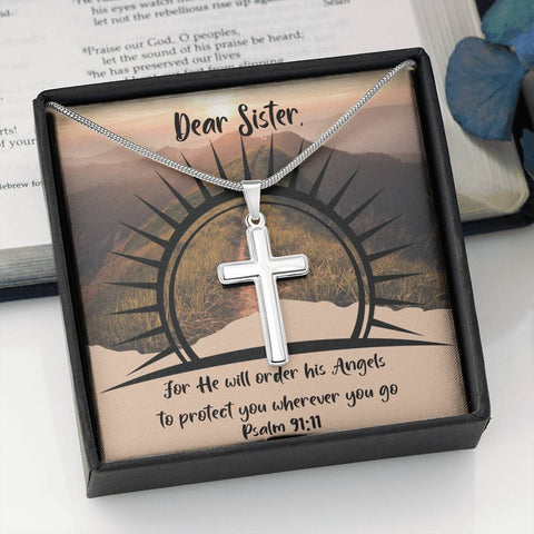 Psalm 91:11 Sister Cross Necklace Gift For He Will Order His Angels to Protect You Wherever You Go Message Card Keepsake