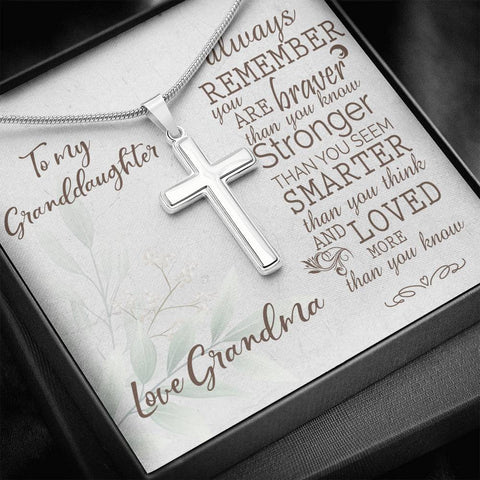 Granddaughter Artisan Crafted Cross Pendant Love Grandma Always Remember You Are Stronger Than You Know Necklace