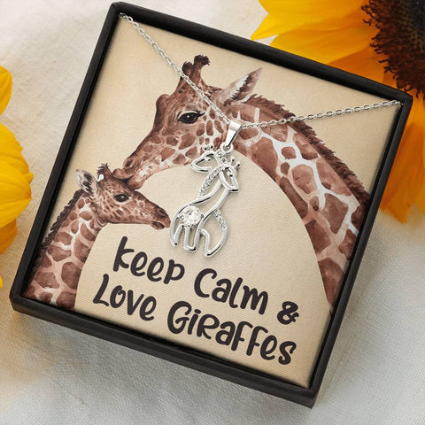 Keep Calm Love Giraffes Necklace Gift Surprise Giraffe Pendant for Daughter, Granddaughter, Wife, Girlfriend