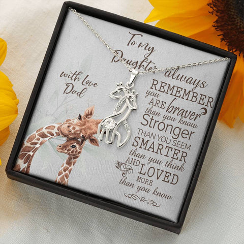 Daughter Giraffe Necklace Gift Always Remember Brave Strong Smart Loved Love Dad Message Card Animal Pendant